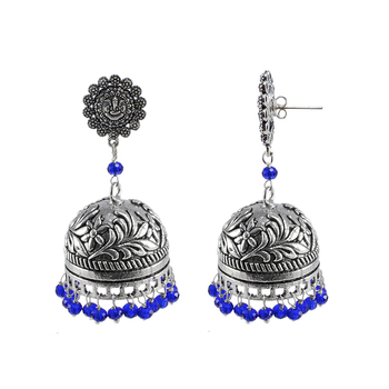 Antiquated Black Metal Ganesha Jhumki Earrings With Tiny Blue Crystals
