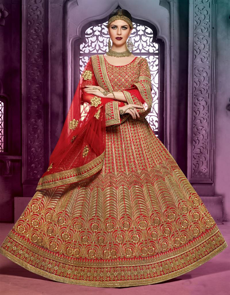 Buy Maroon Embroidered Art Silk Unstitched Lehenga Online