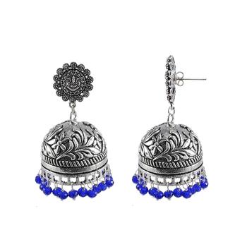 Elegant Handmade Dangle Ganesha Jhumki Earrings With Faceted Blue Crystal Beads