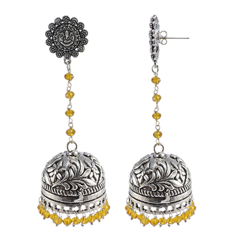Explicit Handmade Traditional Ganesha Studs Jewellery 29 Grams Citrine Crystal Alloy Oxidized Long Jhumka Earrings