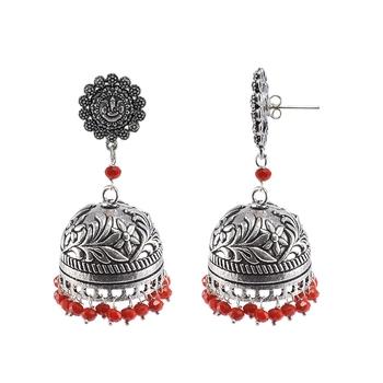 Silvesot India Beautifully Expressive 31.2 Grams Handmade Alloy Oxidized Ganesha Jhumka Earrings With Tiny Red Crystals