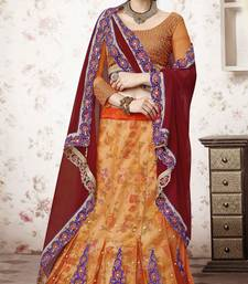 Amber embroidered net unstitched lehenga