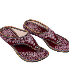 Buy Black and Maroon Fabric women footwear footwear online
