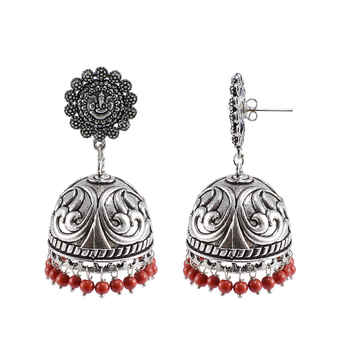 Oxidized Handmade Ganesha Jhumka Earrings-Tribal Jewellery-Jaipur Jhumki