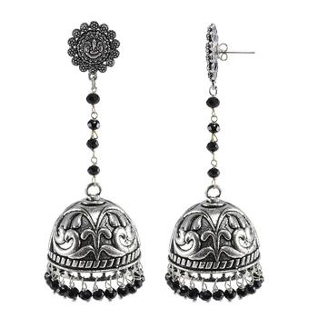 Black Crystal Beads With Ganesha Jhumki Earrings - Indian Jewellery
