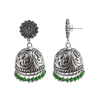 Jaipur Traditional Oxidized Silver Beautiful Color Fashion Handmade Drop Earring And Ganesha Jhumki