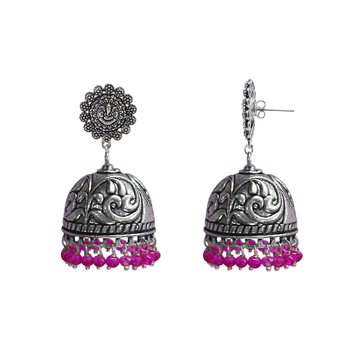 Jhumki Style Earrings With Oxidized Ganesha Studs Polish And Pink Crystals-Jaipur Grace