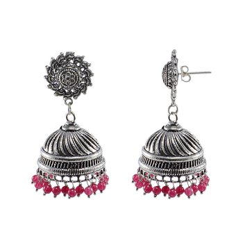 Surya Post Studs And Pink Beads Jhumki-Tribal Chandelier Earrings Jewellry