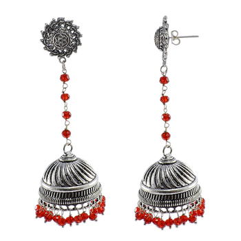 Large Statement Jhumka-Tribal Earrings-Red Crystal Beads And Surya Jhumki-Tribal Jewellery-