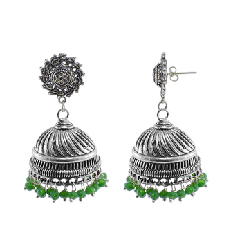 Jaipur Traditional Oxidized Silver Beautiful Color Fashion Handmade Drop Earring And Surya Jhumki
