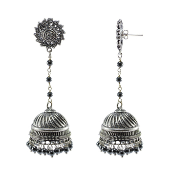 Ethnic Large Oxidized Surya Jhumki Earrings Contrast With Sleek Globes Of Hematite Beads Jewellery