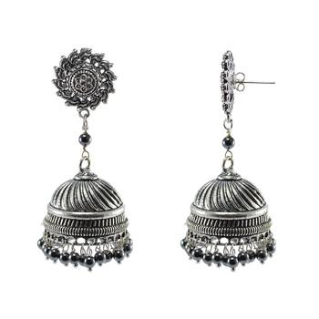 Exotic Elegance Hematite And Surya Jhumki Earrings-Banjara Rajasthani Jewellery