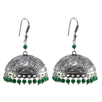 Ethnic Oxidized Jewellery-Danglers With Green Beads Large Jhumka Earrings