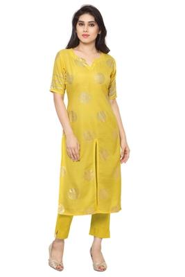 Yellow Spun plain stitched kurti