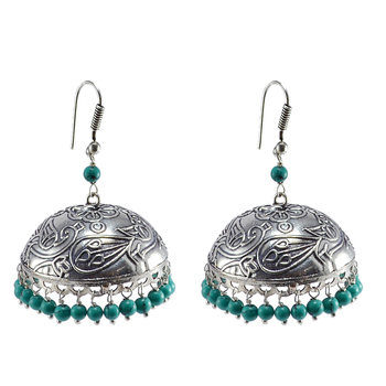 Antique Finish Jaipuri Jhumka Earring- Tirbal Earrings Jewelry With Treated Turquoise Beads -