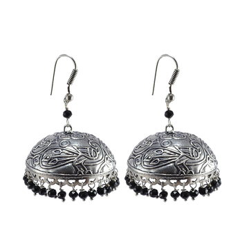 Antique Silver Black Crystal Jhumka Earrings-Jaipur Jhumki-Bohemian Jewelry