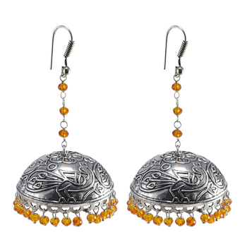 Ethnic Indian Temple Antique Oxidized Orange Crystal Beads Earrings With Silver Plated Bollywood Jhumki For Women-