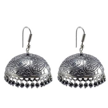 Royal Traditon With Hematite -Dandiya Jhumka Earrings Jewlery