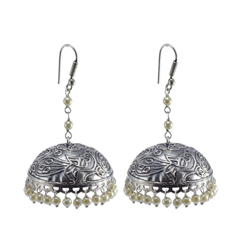 Oxidized Handmade Pearl Jhumki Earrings-Tribal Jewellery
