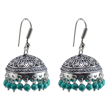 Ethnic-Traditional Style Silver Mixed Oxidized Reconstituted Turquoise Jhumki Earring-Indian Fashion Jewelry-