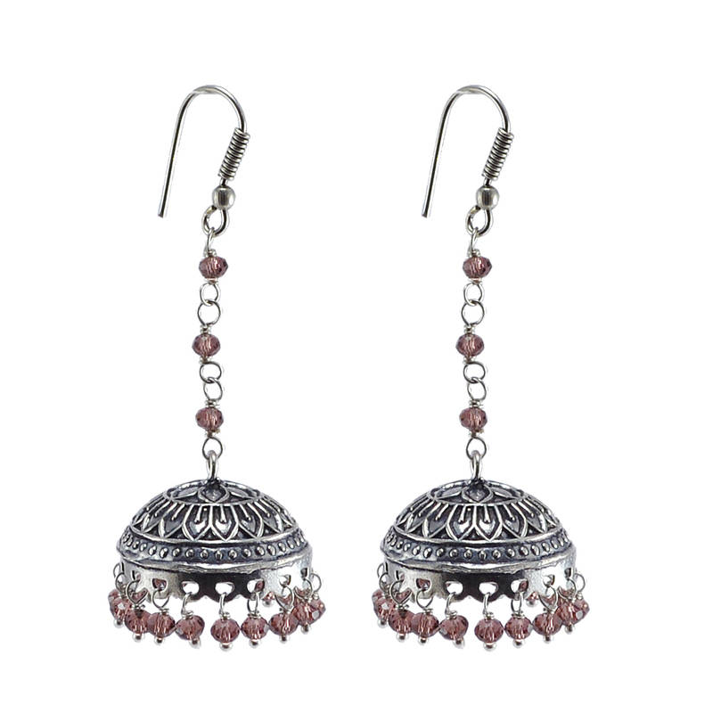 Kanjivaram Beads: Amethyst Crystal Beads Traditional Silver Overlay Jhumka
