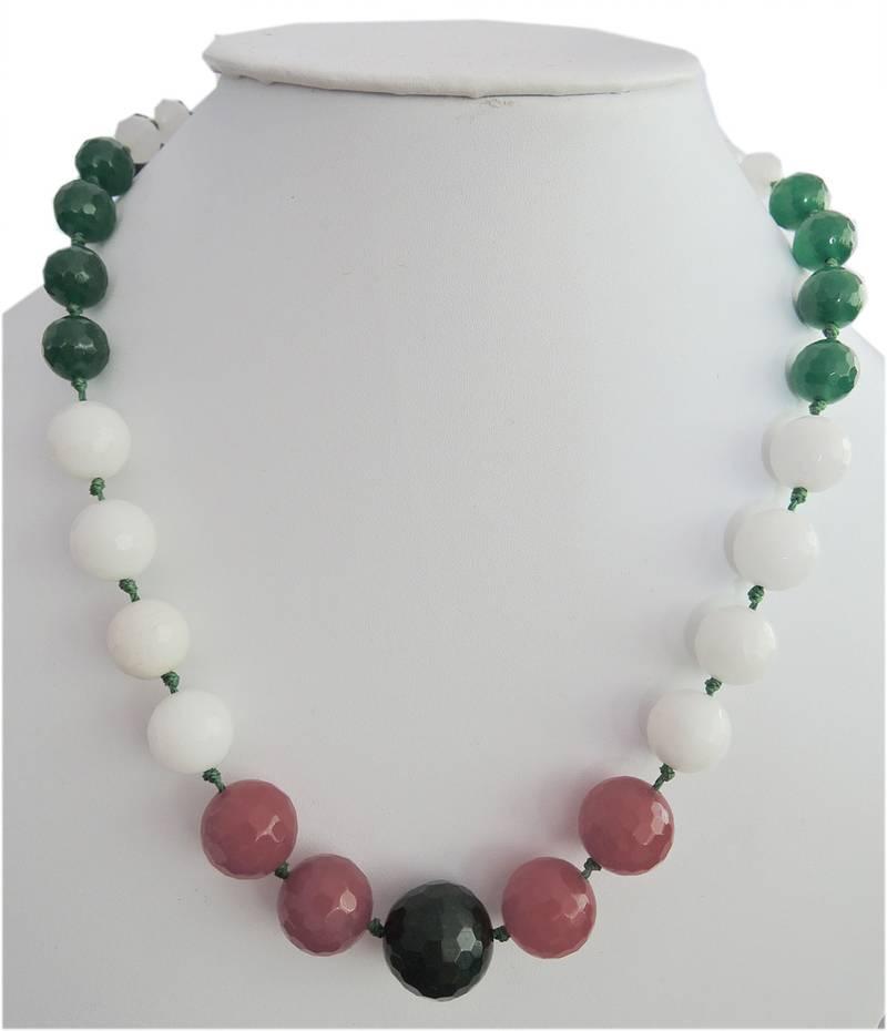 Kanjivaram Beads: Ring Of Colors Jade Gemstone Beads Necklace For Women