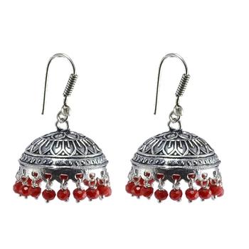Oxidized Handmade Red Crystal 3 Mm Jhumka Earrings-Jaipuri Jewelry