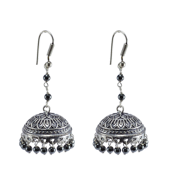 Oxidized Jhumki- Hematite Beads Jaipur Jewellery-Dome Shaped Gypsy Earrings-