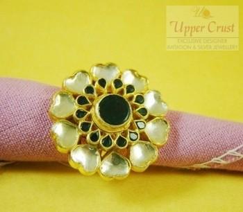 Huge Round Kundan Gold Plated Bridal Cocktail Finger Ring