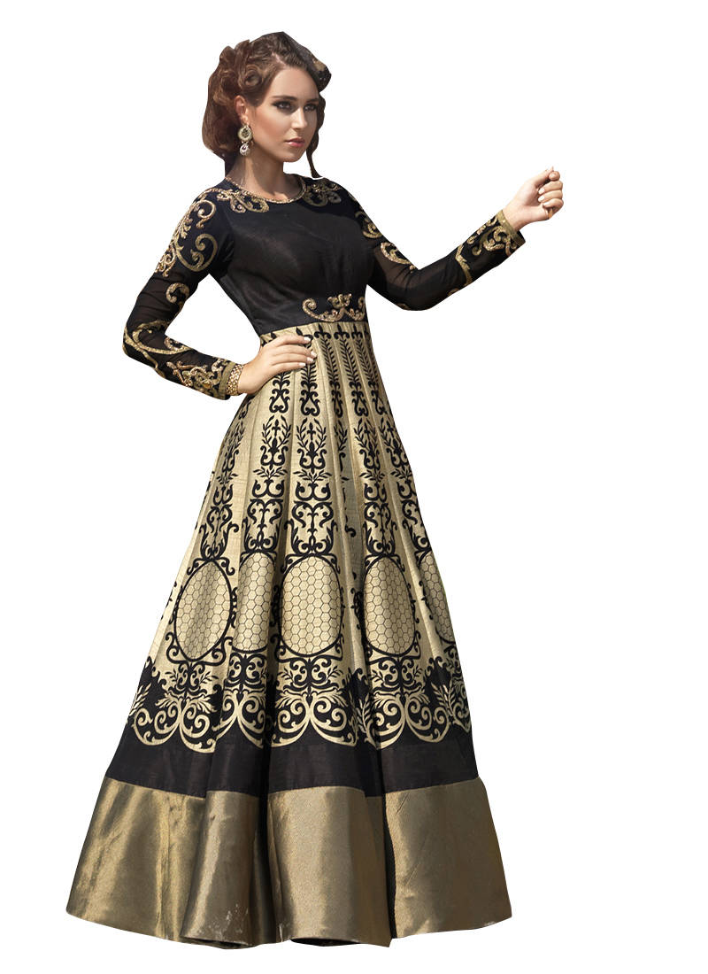 d6ab3a8a7d Golden cotton silk printed semi stitiched party wear gowns - Mastani ...