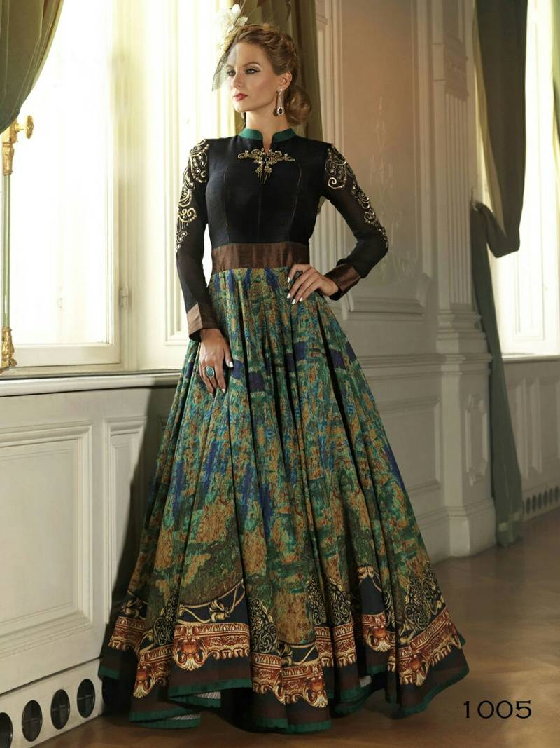 fcc065b36002 Green cotton silk printed semi stitiched indian party wear gowns ...
