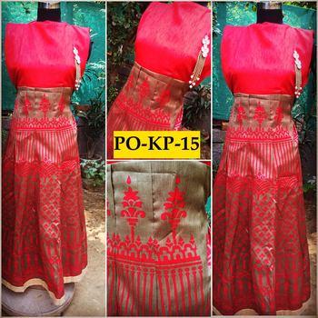 Pink gold printed bhaglpuri silk dress
