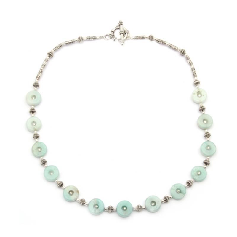 Kanjivaram Beads: Green Amazonite Gemstone Beads Necklace