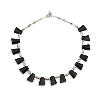 Black obsidian beads necklace