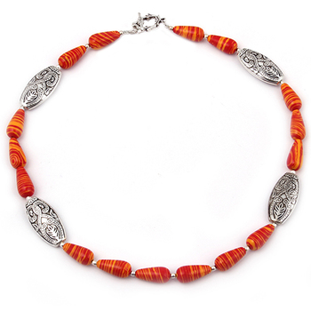 Scarlet affair mosaic beads necklace