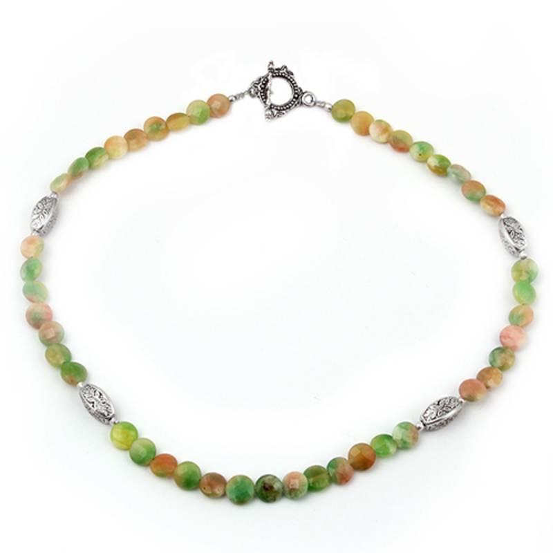 Kanjivaram Beads: French Kiss Dyed Quartzite Gemstone Beads Necklace