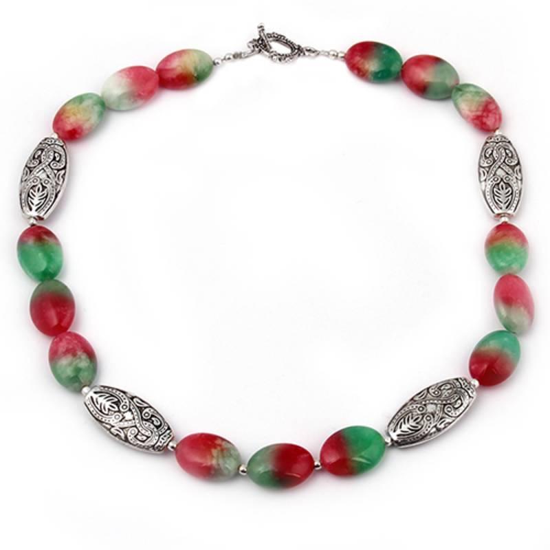 Kanjivaram Beads: Meloned Dyed Quartzite Gemstone Beads Necklace