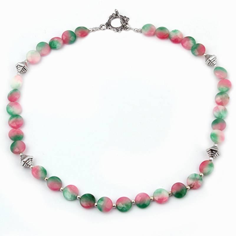 Kanjivaram Beads: Melange Dyed Quartzite Gemstone Beads Necklace
