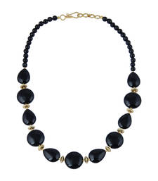 Buy   Captivating coin, faceted round, pear shaped black agate gem s... gemstone-necklace online