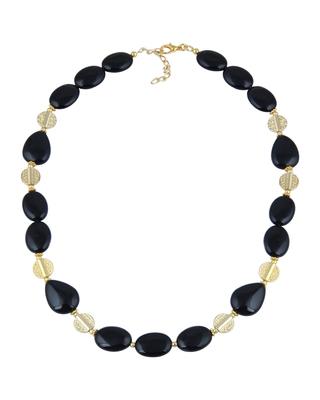 Exhilaration Oval, Pear Shaped Black Agate Gem Stone Beads Nec...