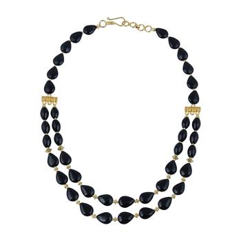 Adventure pear, drum shaped black agate gem stone beads neckla...