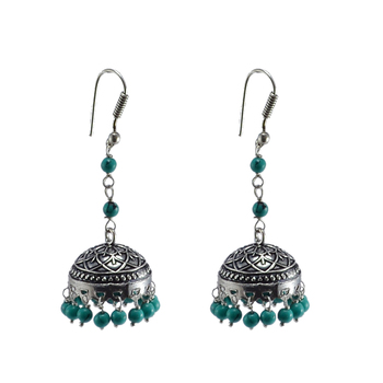 Hand Crafted Jhumki Dome Earrings In Treated Turquoise