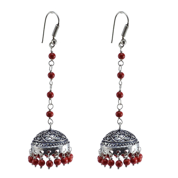 Jhumka Style Earrings With Oxidized Polish And Reconstituted Coral Jaipur Grace