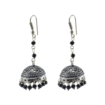 Oxidized Handmade Black Crystal Jhumki Earringstribal Jewellery