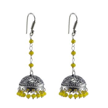 Tribal Jewelleryyellow Crystal Jhumkadome Shape Earringsindian Jewelry