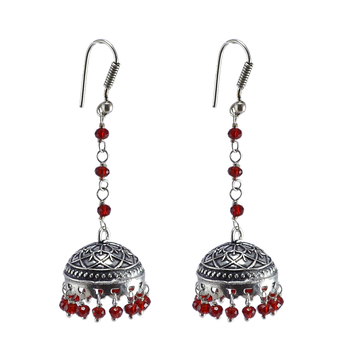 Red Crystal Earrings,Temple Jewelry Indian Silver Jhumkaslarge Jhumki Gypsy Tribal Jewellery