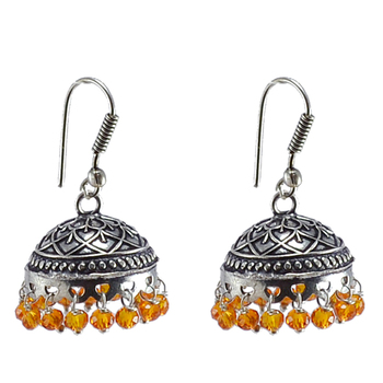 3Mm Orange Crystal Beadstraditional Jaipuri Jhumka Earringslarge Vintage Tribal Jewelry