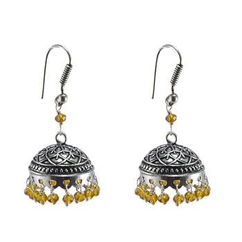 Rajasthani Tribal Jewelry3 Mm Citrine Crystal Hanging Jhumka Earrings