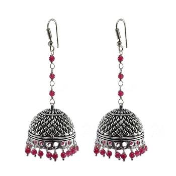 Beautiful Vintage Jaipuri Jhumka Earringstribal Old Jewelry With Oxidized Polish
