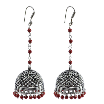 Jaipuri Jhumkaoxidized Jhumkai Dome Shaped Mandmade Coral Dangle Chandelier Earring
